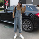 Jeans Spring 2021 blue S,M,L Ninth pants High waist rompers routine 18-24 years old light colour 30% and below