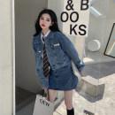 Fashion suit Spring 2021 S. M, l, average size Denim skirt, denim coat, white shirt + tie 18-25 years old 30% and below