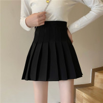 skirt Spring 2021 S,M,L Grey, black, khaki Short skirt commute High waist Pleated skirt Solid color Type A 18-24 years old 30% and below other Korean version