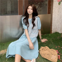 Dress Summer 2021 Blue, white Average size Mid length dress singleton  Short sleeve commute Crew neck High waist Solid color Socket 18-24 years old Type A Korean version 30% and below polyester fiber