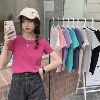 T-shirt White, gray, black, pink, rose, green, khaki, lavender, haze blue Average size Summer 2021 Short sleeve Crew neck Self cultivation have cash less than that is registered in the accounts routine commute cotton 96% and above 18-24 years old Korean version youth Solid color