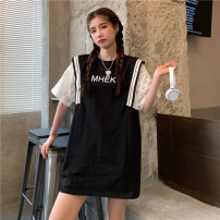 T-shirt Summer 2021 Short sleeve Crew neck Fake two pieces Medium length routine commute other 30% and below 18-24 years old youth Splicing White, black One size fits all