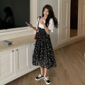 Dress Summer 2021 Red, light green, yellow, purple, white, black, blue, khaki Average size Mid length dress Fake two pieces Short sleeve Sweet Crew neck High waist Broken flowers Socket A-line skirt routine camisole 18-24 years old Type A Stitching, printing More than 95% Chiffon polyester fiber