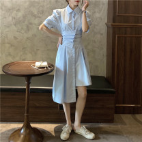 Dress Spring 2021 White, blue, black Average size Mid length dress singleton  Short sleeve commute Polo collar High waist Solid color Single breasted Irregular skirt puff sleeve Others 18-24 years old Type A Korean version Stitching, asymmetry, buttons 30% and below other