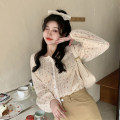 Lace / Chiffon Summer 2021 Apricot shirt, Khaki Skirt Average size, s, M Long sleeves Sweet Cardigan singleton  easy Regular Crew neck Decor routine 18-24 years old Button 30% and below college