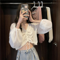 Lace / Chiffon Spring 2021 Apricot, white, black, pink Average size Long sleeves commute Socket singleton  easy have cash less than that is registered in the accounts V-neck Solid color puff sleeve 18-24 years old Lace up, asymmetrical Korean version 30% and below
