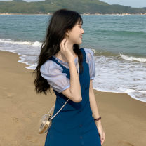 Dress Summer 2021 One piece jacket, one piece skirt Average size Mid length dress singleton  Sleeveless commute V-neck High waist Solid color Socket A-line skirt camisole 18-24 years old Type A Korean version Button 30% and below other other