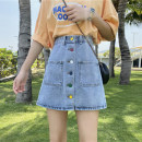 skirt Spring 2021 S,M,L,XL Denim blue Short skirt fresh High waist A-line skirt Solid color Type A 18-24 years old 30% and below other Button