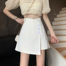 skirt Summer 2021 S,M,L,XL Black, white Short skirt commute High waist A-line skirt Solid color Type A 18-24 years old 30% and below other Asymmetry, button Retro