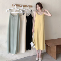 Dress Summer 2021 Light green, apricot, yellow, black Average size Mid length dress singleton  Sleeveless commute Crew neck High waist Solid color Socket A-line skirt routine camisole 18-24 years old Type A Korean version backless 30% and below other other