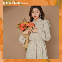 Dress Spring 2021 Pre sale of apricot in Paris S M L XL Mid length dress singleton  Long sleeves commute other High waist Broken flowers other other other Others 18-24 years old Type H Othermix Korean version fungus BMB1200P More than 95% other polyester fiber