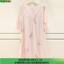 Nightdress A good companion Light pink (collection courtesy), light blue (collection courtesy) L,XL,M Simplicity Long sleeves Living clothes longuette spring V-neck cotton 21% (inclusive) - 40% (inclusive) Knitted cotton fabric