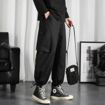 Casual pants Others Youth fashion Black, green, grey M. L, XL, 2XL, 3XL, s small, XS plus small routine trousers Other leisure easy Micro bomb autumn teenagers tide Straight cylinder Cotton 100% Overalls Pocket decoration No iron treatment Solid color cotton