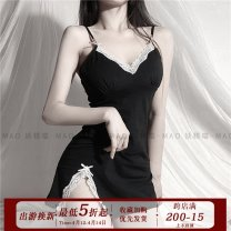 Nightdress Other / other Black [with detachable bra], black [without bra], pink [without bra], blue [without bra], red [without bra] S [under 100kg], m [101-115kg], l [116-130kg] camisole pajamas Short skirt Solid color youth V-neck cotton