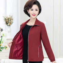 Middle aged and old women's wear Spring 2021 fashion Jacket / jacket easy singleton  Solid color 40-49 years old Cardigan moderate Polo collar Medium length (length 50-70cm) routine The clothes of Europe pocket polyester 51% (inclusive) - 70% (inclusive) Pure e-commerce (online only) zipper