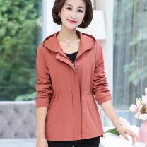 Middle aged and old women's wear Spring 2021 Khaki skin red XL 2XL 3XL 4XL fashion Jacket / jacket Self cultivation singleton  Solid color 40-49 years old Cardigan moderate Hood Medium length (length 50-70cm) routine OZS19CPJ070 The clothes of Europe pocket other Other 100% 96% and above zipper