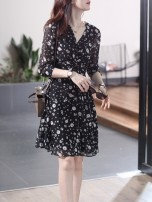Dress Summer 2021 black S,M,L,XL Middle-skirt singleton  elbow sleeve commute V-neck High waist Cartoon animation Socket routine Other / other Korean version Print, lace More than 95% other other