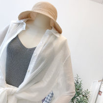 short coat Summer of 2018 Average size White blue Long sleeves Medium length Thin money singleton  easy commute shirt sleeve Polo collar Solid color