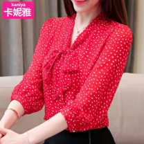 Lace / Chiffon Spring of 2019 White, red S (recommended 85-95 kg), m (recommended 95-105 kg), l (recommended 105-118 kg), XL (recommended 118-128 kg), XXL (recommended 128-140 kg) three quarter sleeve Versatile Socket singleton  Self cultivation Super short other Dot bishop sleeve Other / other