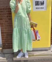 Dress Summer 2020 Green, blue, yellow Average size Mid length dress singleton  Short sleeve commute V-neck High waist lattice Socket Big swing puff sleeve Type A Korean version