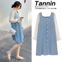 Dress Zilan Denim + safety pants M L XL XXL Korean version Long sleeves routine spring Crew neck Solid color 6901-2-24