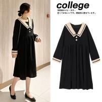 Dress Zilan Navy collar black dress black + black socks M L XL XXL Korean version Long sleeves have more cash than can be accounted for spring Lapel lattice 168-2-17