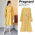 Dress Zilan M L XL Korean version Long sleeves Medium length spring V-neck Solid color