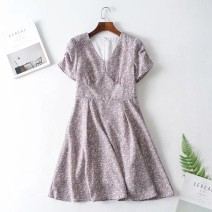 Dress Summer of 2019 As shown in the figure S,M,L Short skirt Short sleeve street V-neck 18-24 years old 81% (inclusive) - 90% (inclusive) Europe and America