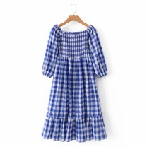 Dress Spring 2021 As shown in the figure S,M,L Mid length dress street One word collar High waist 18-24 years old 81% (inclusive) - 90% (inclusive) Europe and America