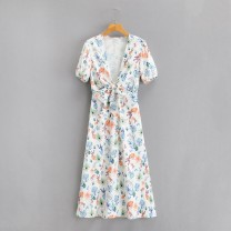 Dress Spring 2021 As shown in the figure S,M,L Mid length dress Short sleeve street V-neck High waist 18-24 years old 81% (inclusive) - 90% (inclusive) Europe and America