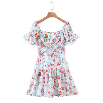 Dress Spring 2021 As shown in the figure S,M,L Short skirt street square neck High waist 18-24 years old 81% (inclusive) - 90% (inclusive) Europe and America