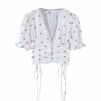 shirt Cherry print, solid S,M,L Spring 2021 other 81% (inclusive) - 90% (inclusive) Short sleeve street 18-24 years old Europe and America