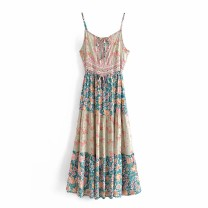 Dress Summer 2021 Green, red, pink S,M,L Mid length dress singleton  Sleeveless street High waist Decor 18-24 years old 81% (inclusive) - 90% (inclusive) Europe and America