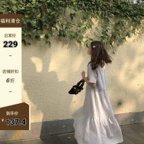Dress Summer 2020 Jasmine (with sling), Gardenia jasminoides (with sling) S,M,L Mid length dress singleton  Short sleeve Type A 31% (inclusive) - 50% (inclusive) other polyester fiber