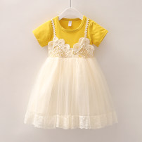 Dress female Other / other 80cm,90cm,100cm,110cm,120cm,130cm Cotton 70% polyester 30% summer lady Short sleeve Solid color cotton Cake skirt 2 years old, 3 years old, 4 years old, 5 years old, 6 years old Chinese Mainland Zhejiang Province Huzhou City