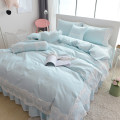 Bedding Set / four piece set / multi piece set cotton Quilting Solid color 133x72 Other / other cotton 4 pieces 40 Bed skirt Qualified products Simplicity 95% (inclusive) - 100% (exclusive) cotton twill Reactive Print