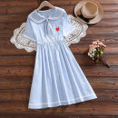 Dress Summer 2021 sky blue S,XL,2XL,L,M Mid length dress singleton  Short sleeve Sweet Elastic waist Solid color Single breasted A-line skirt Others 18-24 years old Type A Bow, pocket, stitching 71% (inclusive) - 80% (inclusive) knitting