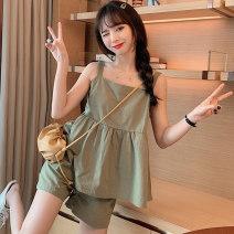Fashion suit Summer 2020 M L XL Grey blue apricot Beige green Swallow Castle M29 Triacetate fiber (triacetate fiber) 100%