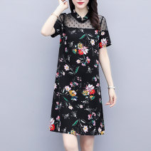 Women's large Summer 2021 black L (recommended 100-118 kg) XL (recommended 118-130 kg) 2XL (recommended 130-150 kg) 3XL (recommended 150-165 kg) 4XL (recommended 165-180 kg) 5XL (recommended 180-200 kg) Dress Two piece set commute easy moderate Socket Short sleeve Decor Retro Half high collar routine