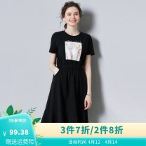 Dress Summer 2021 black S,M,L,XL,2XL Mid length dress singleton  Short sleeve commute Crew neck Elastic waist Socket Big swing routine Others 25-29 years old Type A When and when Korean version C1XL5A02190 91% (inclusive) - 95% (inclusive) cotton