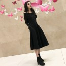Dress Autumn of 2019 Black, Collectible baby added to shopping cart with transparent shoulder strap S,M,L,XL,2XL Mid length dress singleton  Long sleeves commute One word collar High waist Solid color zipper A-line skirt routine camisole Type A Retro
