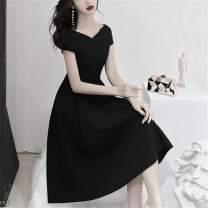 Dress Spring of 2019 black XS,S,M,L,XL,2XL Mid length dress singleton  Short sleeve commute V-neck High waist Solid color zipper Big swing routine Others Type A Other / other Retro Stitching, lace