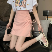 skirt Summer 2021 S,M,L White, pink, black Short skirt commute High waist A-line skirt Solid color Type A 18-24 years old Korean version