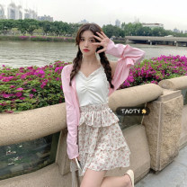 Fashion suit Summer 2021 S. M, average size White sling, pink cardigan, floral skirt and floral dress 18-25 years old