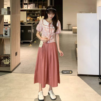 Fashion suit Summer 2021 Average size Yellow top piece, pink top piece, yellow skirt piece, pink skirt piece 18-25 years old