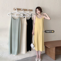Dress Summer 2021 Apricot, light green, yellow, black Average size longuette singleton  Sleeveless commute Crew neck Loose waist Solid color Socket A-line skirt other camisole 18-24 years old Type A Korean version backless