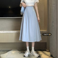 skirt Summer 2021 Average size White, blue, yellow longuette commute High waist A-line skirt Solid color Type A 18-24 years old Button Korean version