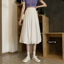 skirt Summer 2021 S,M,L White, black Mid length dress commute High waist A-line skirt Solid color Type A 18-24 years old Korean version