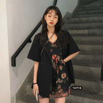 Dress Summer 2021 Short sleeve black suit piece, oil painting dress piece Average size Middle-skirt singleton  Sleeveless commute V-neck High waist Decor Socket A-line skirt other camisole 18-24 years old Type A Korean version