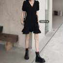 Dress Summer 2021 black Average size Short skirt singleton  Short sleeve commute V-neck High waist Solid color Socket A-line skirt routine Others 18-24 years old Type A Korean version Lace, lace